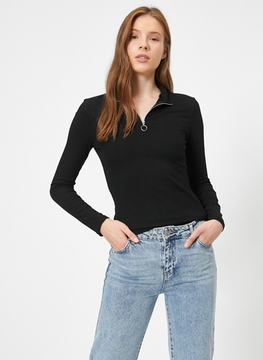 Koton Koton Uzun Kollu Fermuar Yakalı T-Shirt Siyah